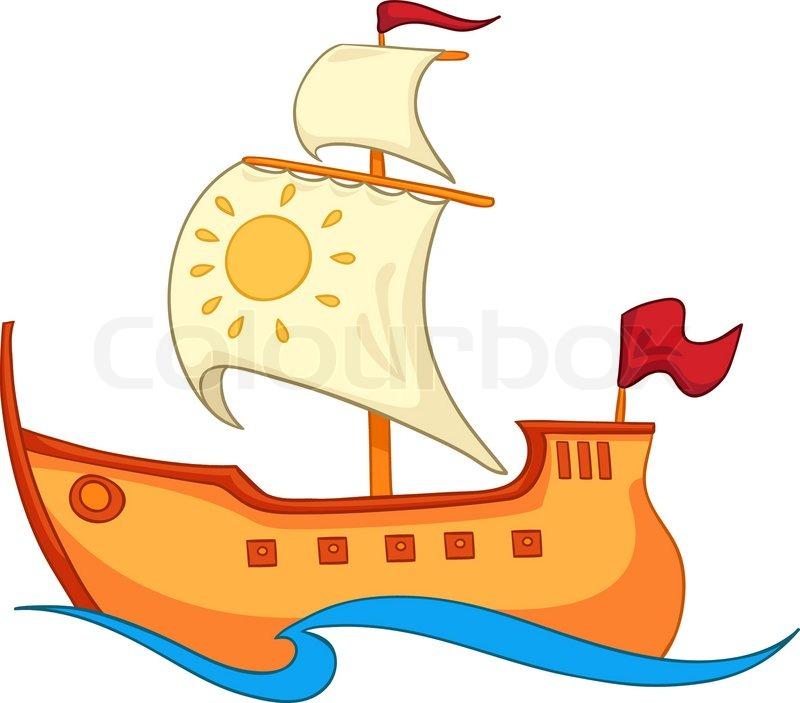 Cartoon Illustration Ship Isolated On White Background