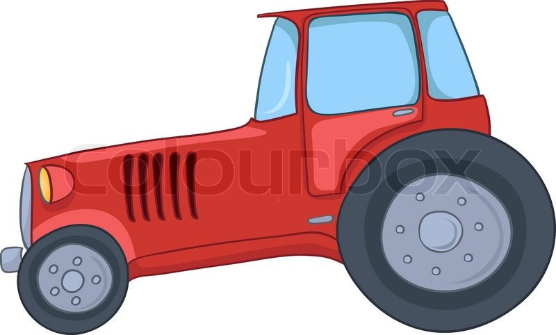 Up The Tractor Green Tractor With Bucket Cartoon : Cartoon tractor isolated on white background stock