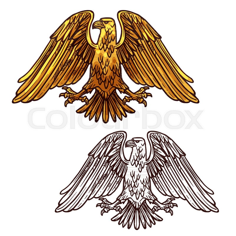 Vector Sketch Silhouette Of Heraldic Eagle Bird Symbolizes