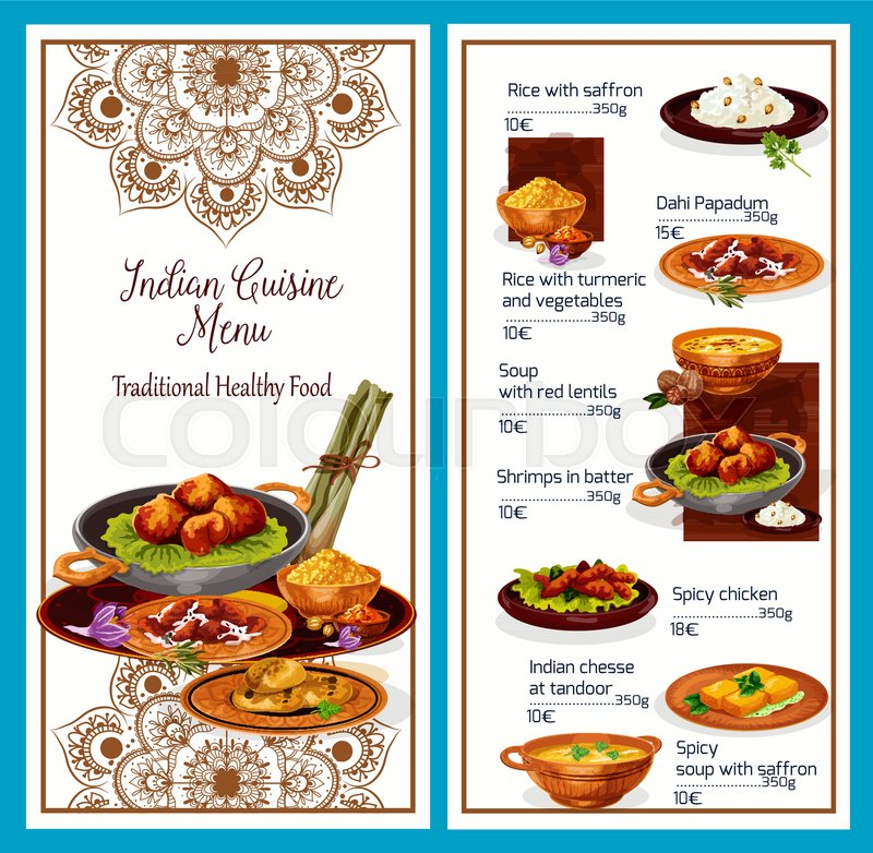 Menu Of Healthy Indian Cuisine With Stock Vector