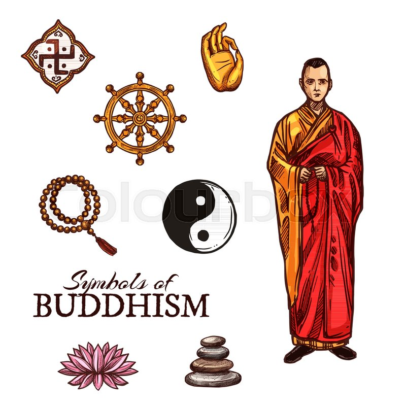 Symbols of buddhism monk dharma wheel rosary and yin yang sign symbols of buddhism monk dharma wheel rosary and yin yang sign lotus flower and pyramid of stones sketch style vector buddhist and religious holy mightylinksfo