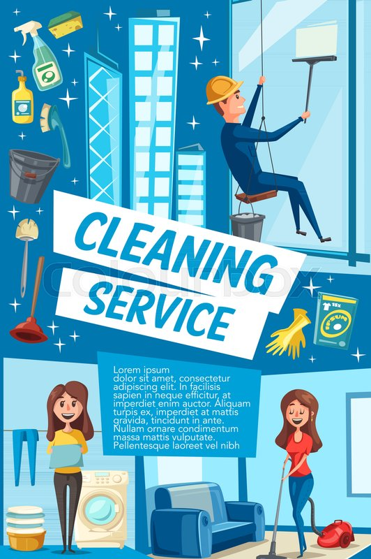 house cleaning service poster for domestic and industrial clean vector housewife woman with mop washing machine and vacuum cleaner or worker man wash