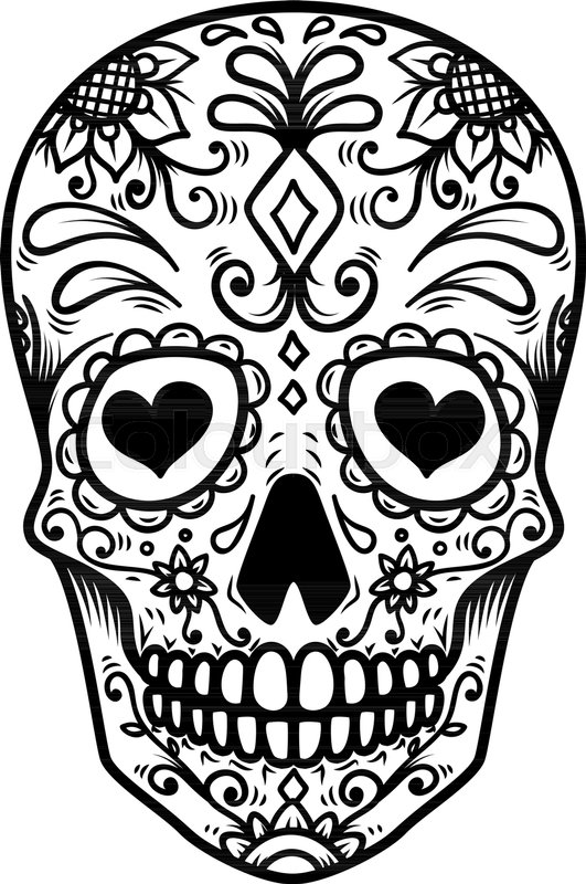 Sugar Skull Isolated On White Stock Vector Colourbox