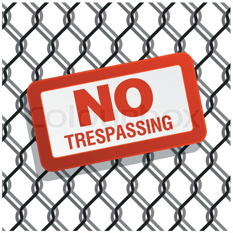 No Trespassing Sign On Chain Link Fence Stock Vector