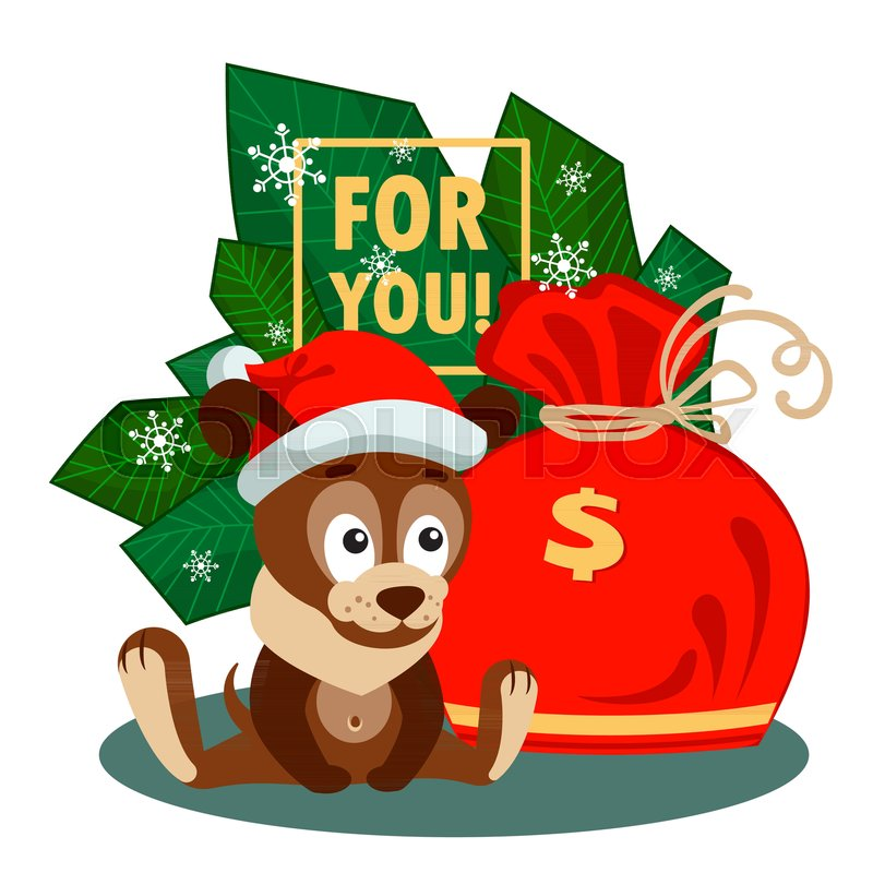 a puppy in a new year s cap and a big bag with sign of dollars in front of the branches christmas or new year greeting card with characters for