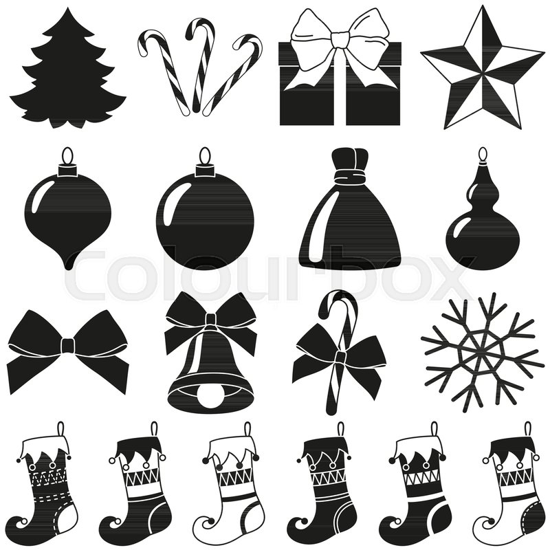 black white 18 christmas elements silhouette set new year holiday decorations vector illustration for icon logo sticker patch label badge emblem