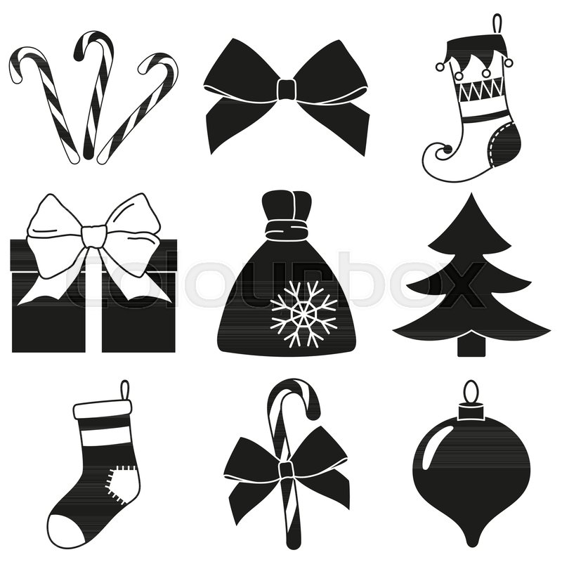 black and white 9 christmas elements silhouette set new year holiday decorations vector illustration for icon logo sticker patch label badge emblem