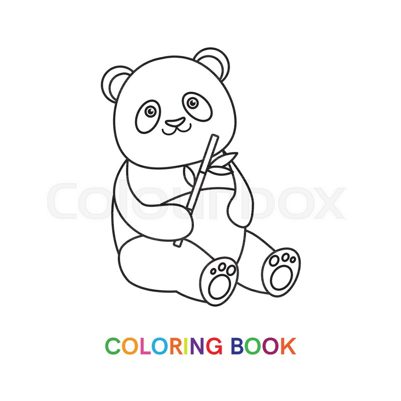 Panda with bamboo for coloring book. ... | Stock vector ...