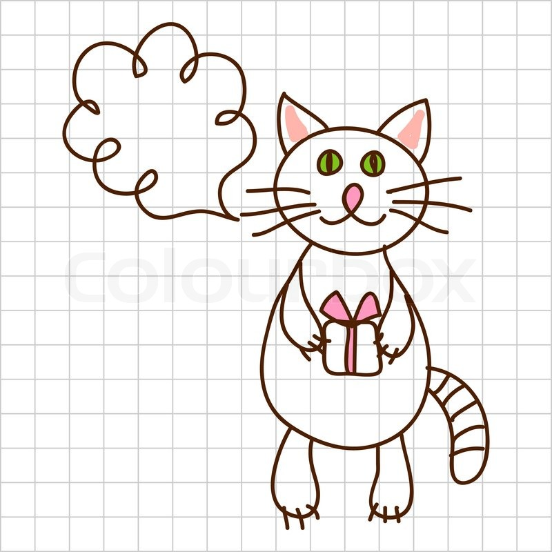 Stock vector of 'Childe drawing greeting card with cute cat'