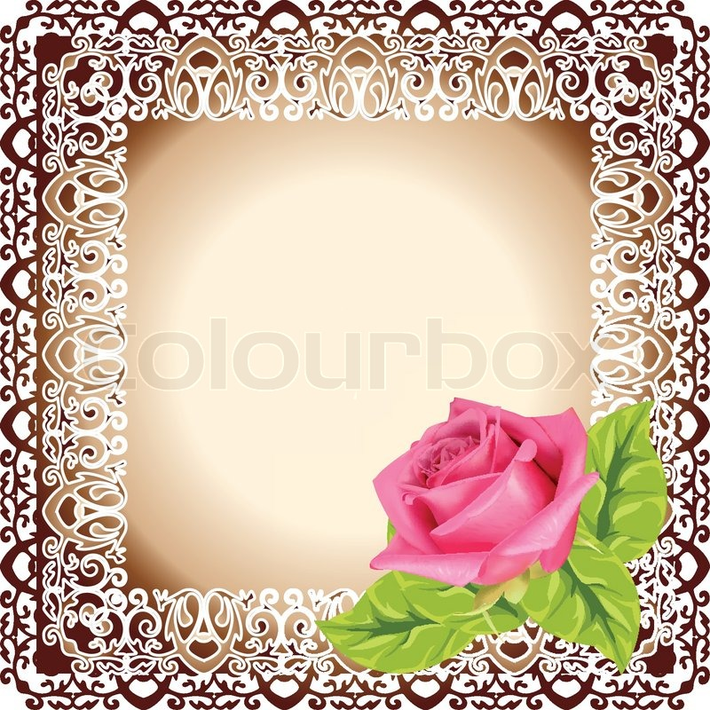 Vector frame with beautiful rose | Stock Vector | Colourbox