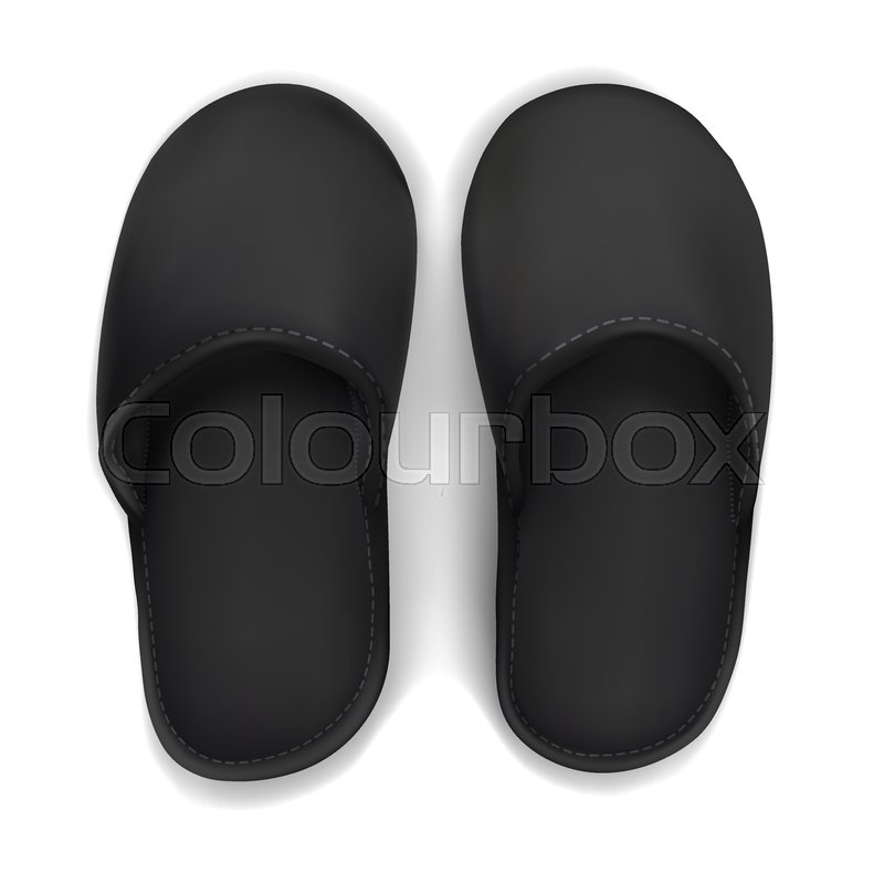 ce96119508413 Vector. Mock Up. Black Slippers | Stock vector | Colourbox