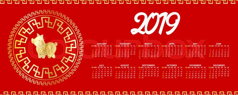 horizontal template chinese new year calendar 2019 week year month date mockup yellow pig traditional symbol on red background golden decor vector