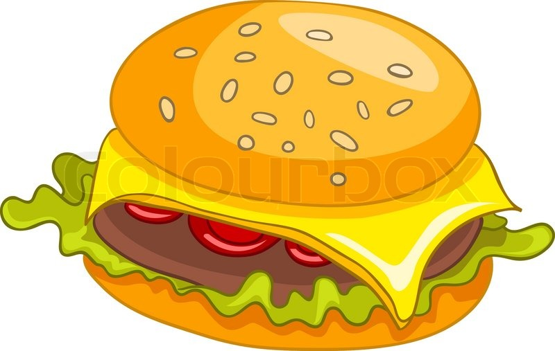 Cartoon Food Hamburger Isolated on White Background ...
