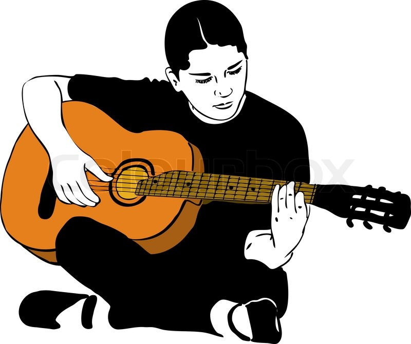 Sketch Of A Girl Playing On An Acoustic Guitar