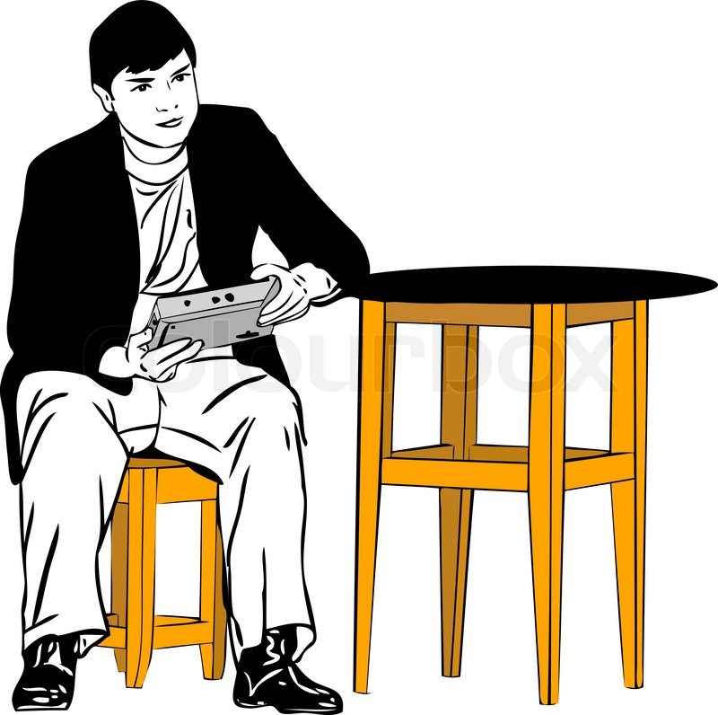 skizze von einem mann auf einem hocker sitzend am tisch vektorgrafik colourbox. Black Bedroom Furniture Sets. Home Design Ideas