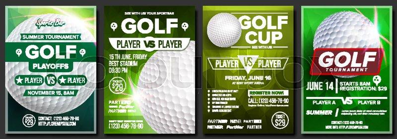 Golf Poster Set Vector Design For Stock Vector Colourbox