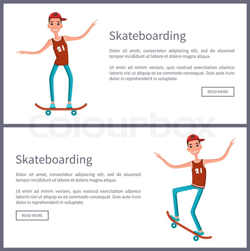 Set Of Web Posters Push Button Read More Teenagers Skateboarders In