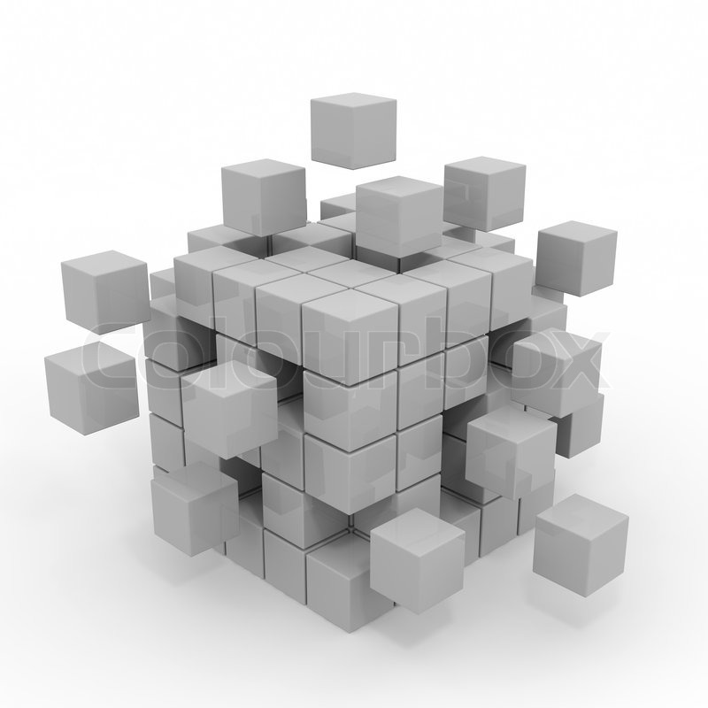 cube assembling from blocks computer generated image stock photo