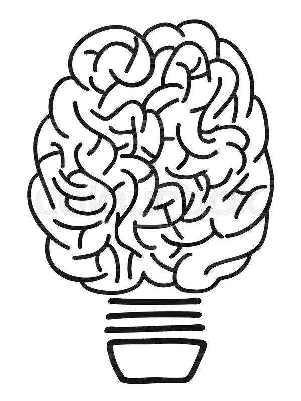 Isolated Doodle Hand Drawn Brain Lightbulb Outline On White Background |  Stock Vector | Colourbox