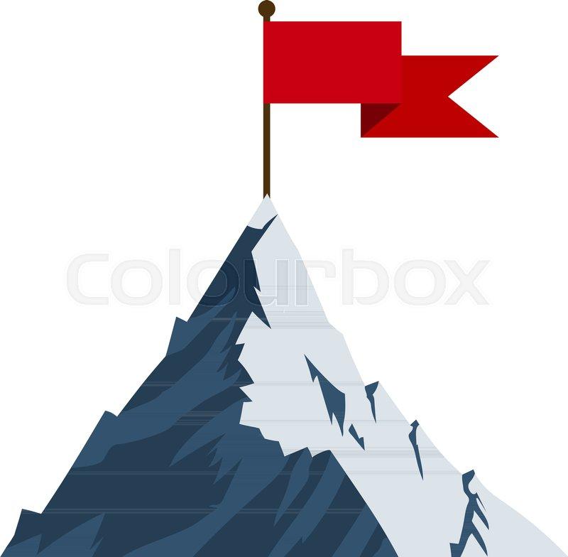 Red flag on mountain peak  Successfull     | Stock vector | Colourbox