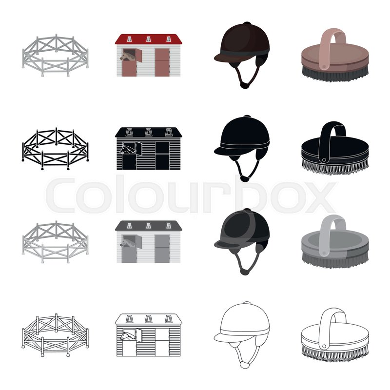 Horse Race Stables Jockey Rider Brush Hippodrome And Racing Set Collection Icons In Cartoon Black Monochrome Outline Style Vector Symbol Stock