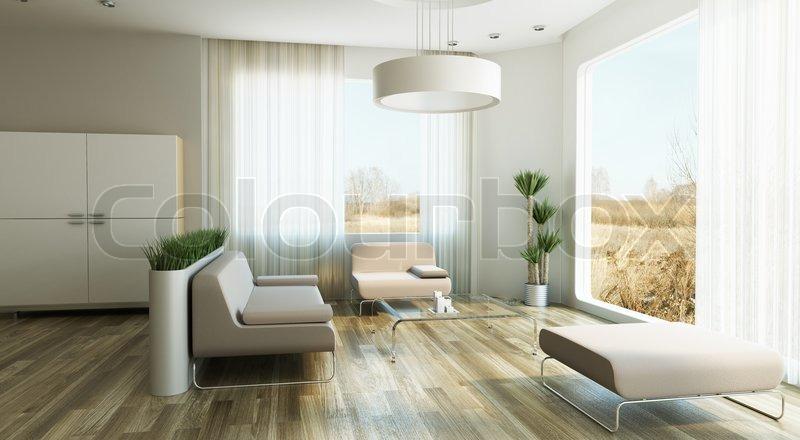 3d Visualisierung moderne Wohnung schwebende innentreppe holz