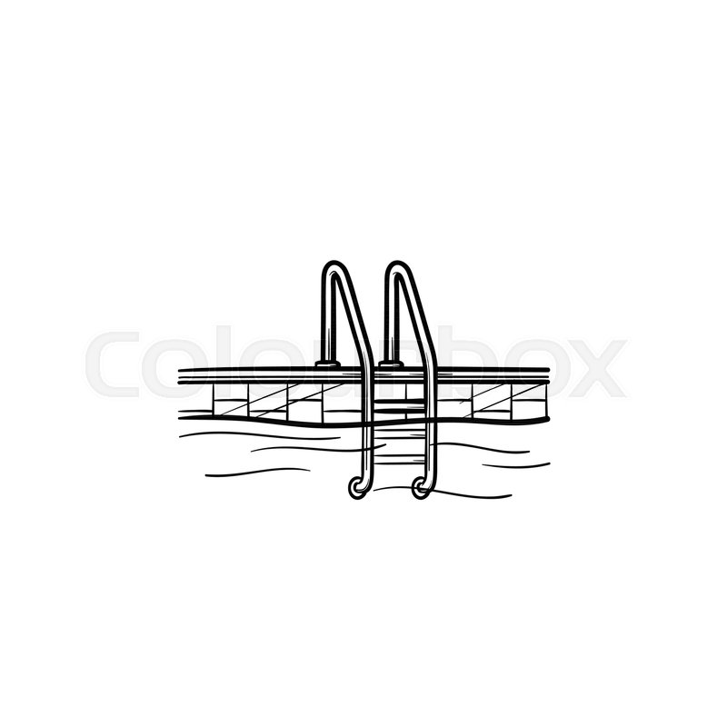 swimming pool ladder hand drawn outline doodle icon sport
