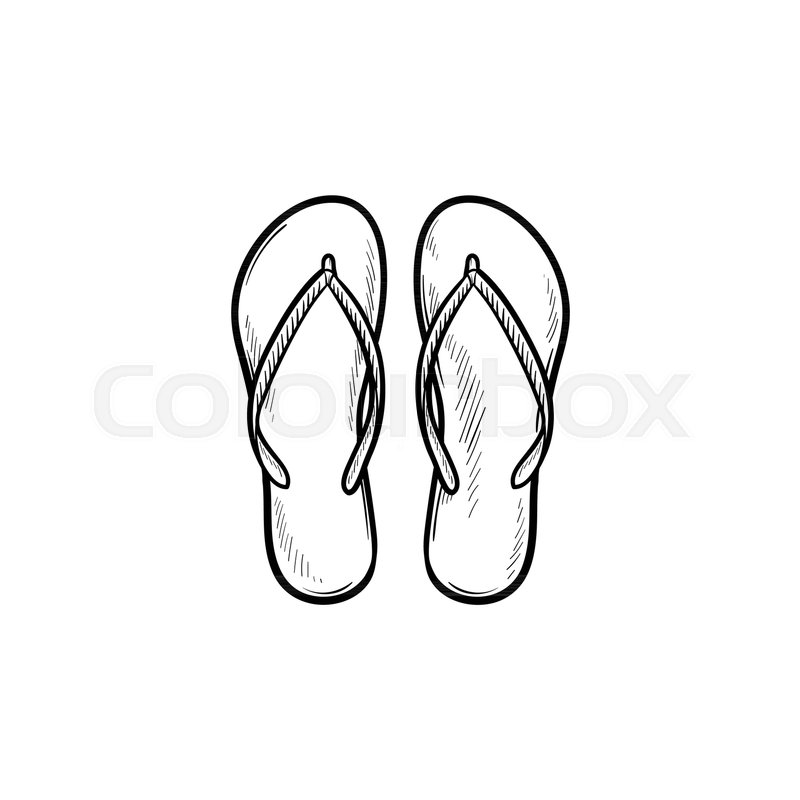 dcff6ffe94d9e Pair of flip flop slippers hand drawn ...