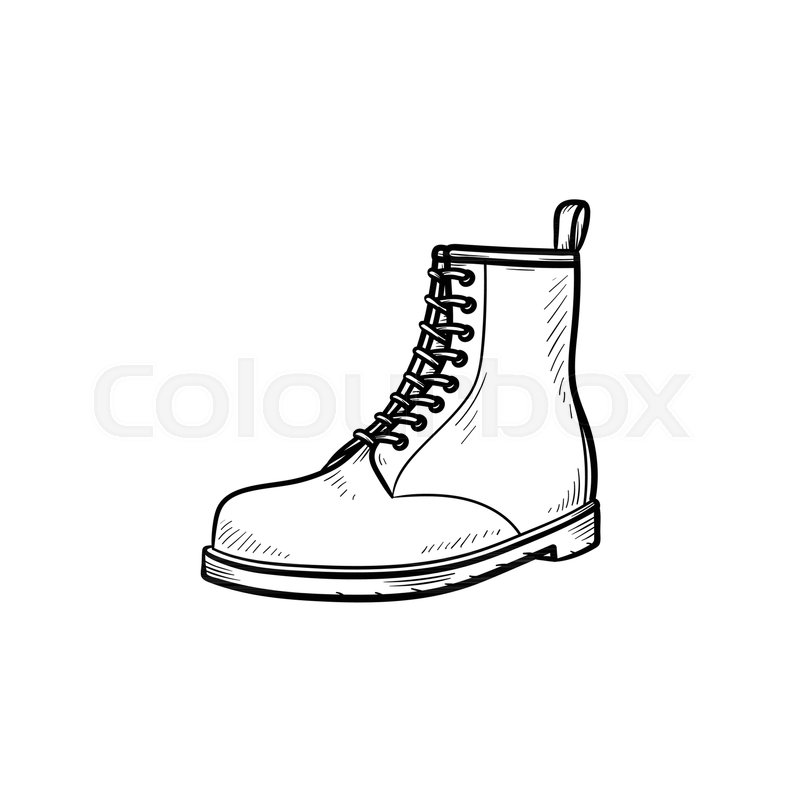 Hiking Boot Hand Drawn Outline Doodle Icon Sport Style Fashion