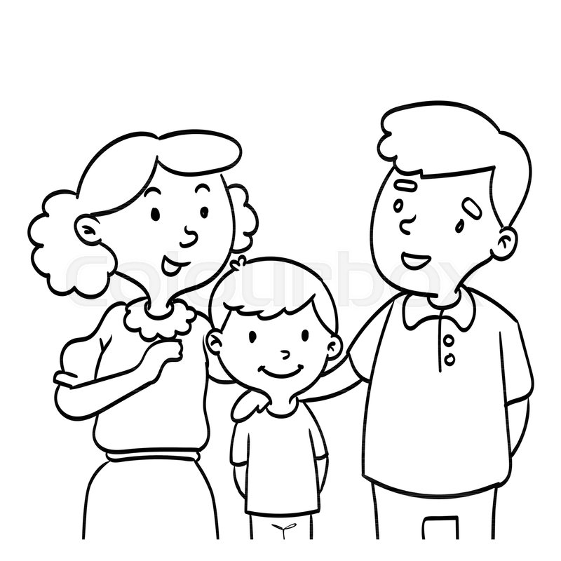 Hand Drawn Of Happy Family Coloring Book Educational For Kids