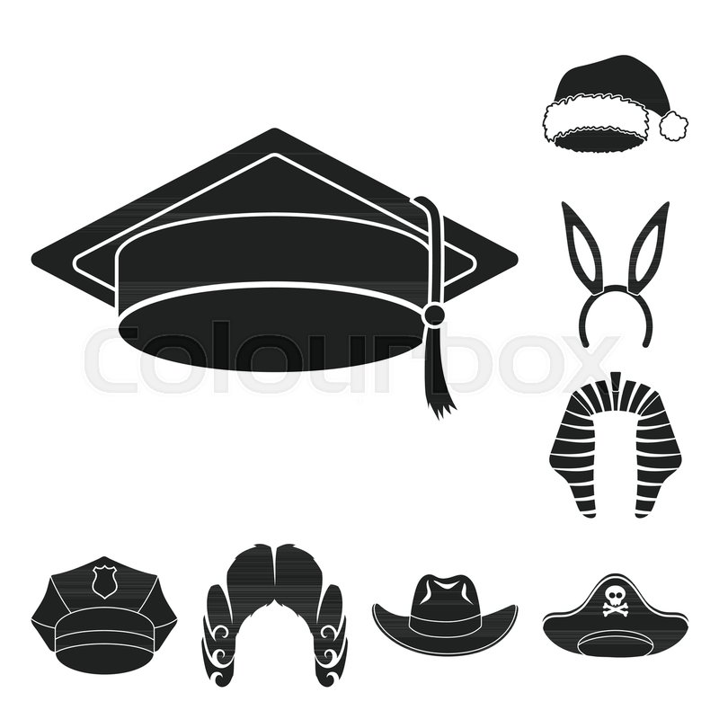 Different Kinds Of Hats Black Icons In Stock Vector Colourbox