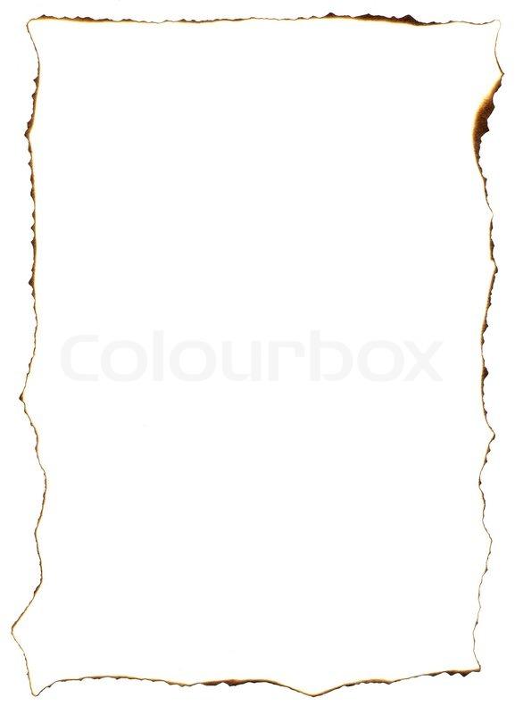 Frame of burnt edges on old paper sheet | Stock Photo | Colourbox