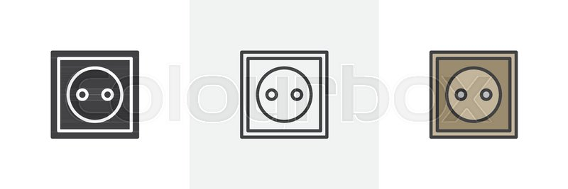 Power socket icon  Line, solid and     | Stock vector