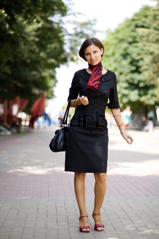 Beautiful woman in street