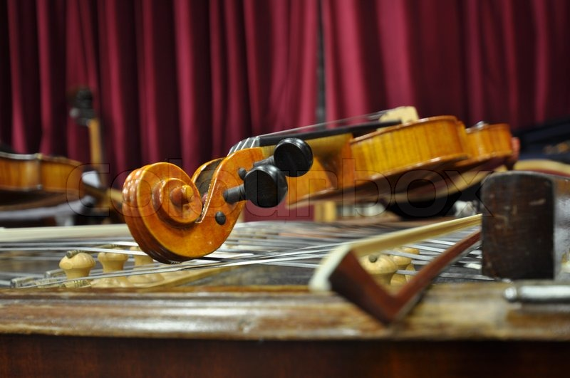 Classic old antique wooden violines concert decoration, stock photo
