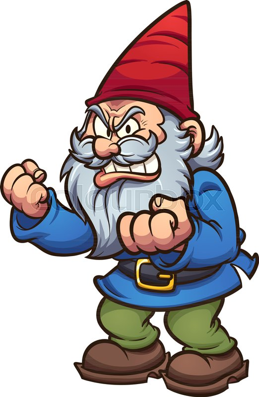 Angry cartoon gnome. Vector clip art