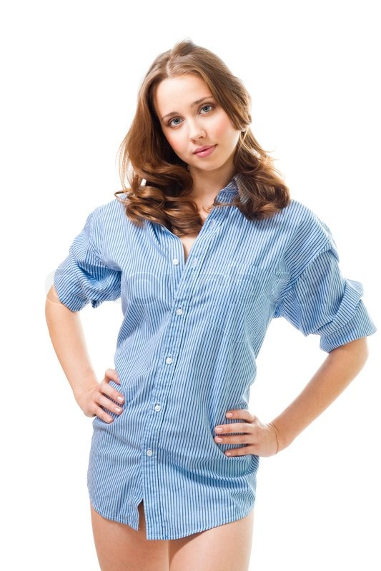 calm woman in men 39 s shirt isolated on white stock photo