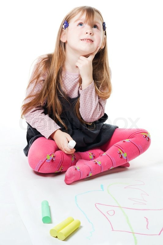 Little Girl Thinking And Drawing With Chalks Sitting On
