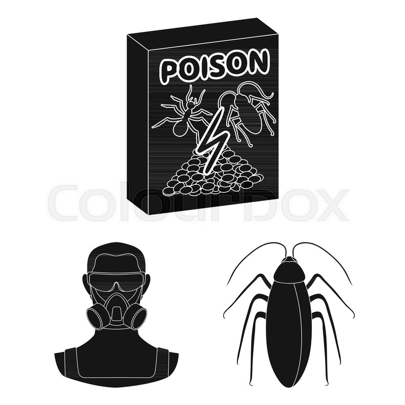 Pest Poison Personnel And Equipment Black Icons In Set Collection