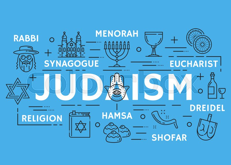 Judaism Poster Of Jewish Religious Symbols Vector Thin Line Design