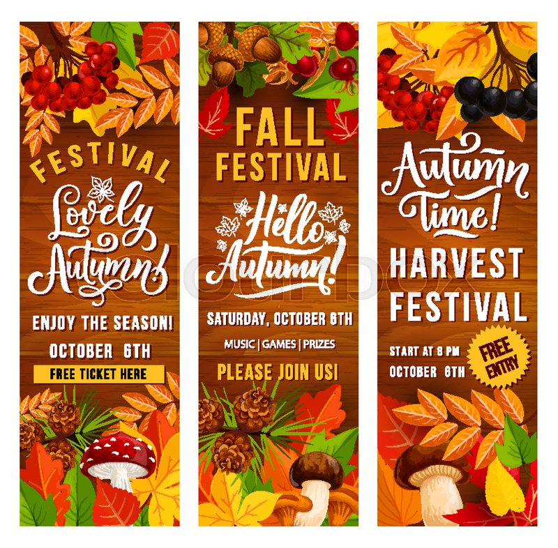 Autumn Harvest Festival Invitation Banner Set Of Fall Season Holiday Template Fallen Leaf Poster On Wooden Background With Border Orange And Red Foliage