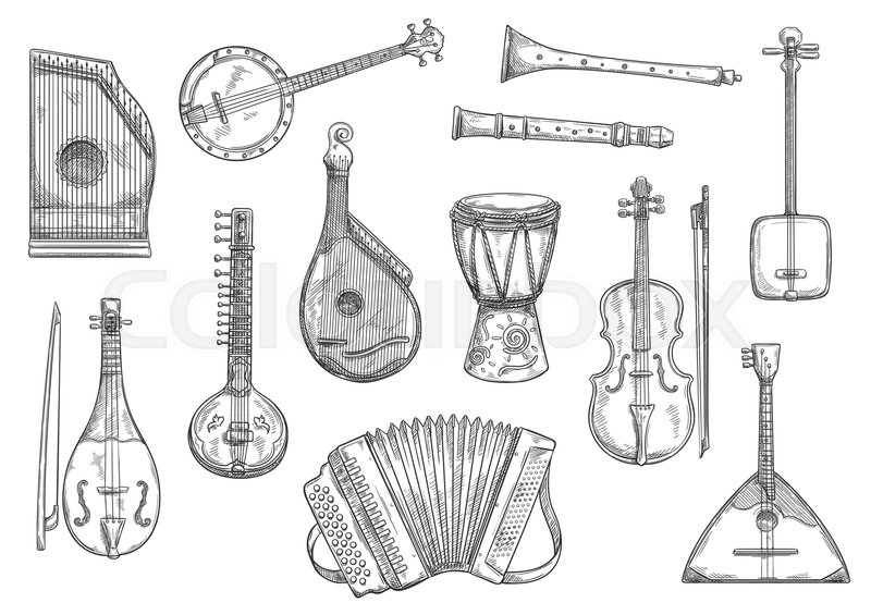 Musical Instruments Sketches Set Stock Vector Colourbox