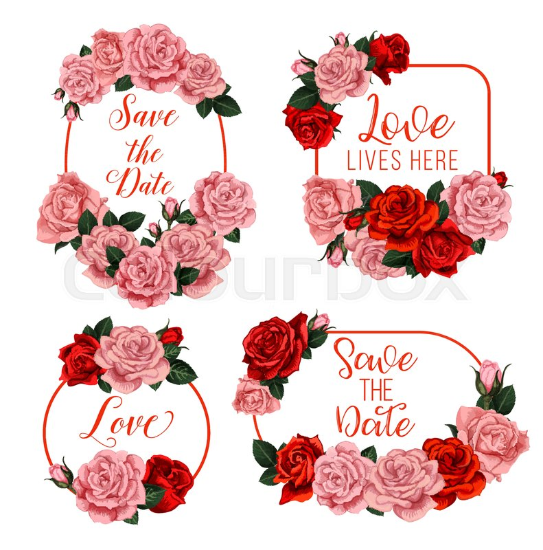 Wedding flowers frames with bride and bridegroom names for Save the ...
