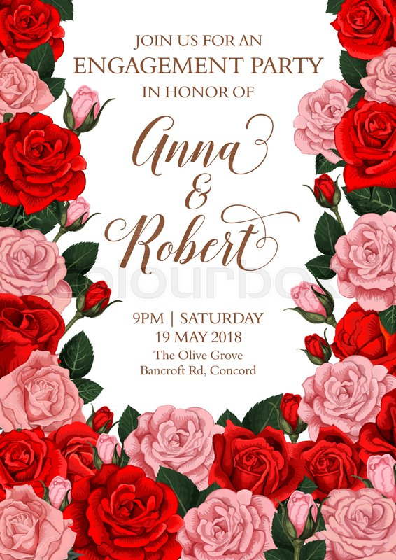 Engagement party invitation card design of roses flowers and bride engagement party invitation card design of roses flowers and bride and bridegroom names vector floral design for save the date greeting with flowery m4hsunfo