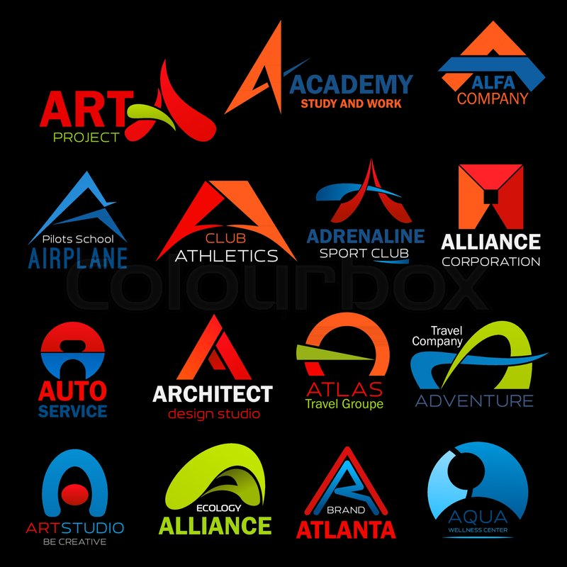Letter A Icons Set For Art Or Architect Design Studio And