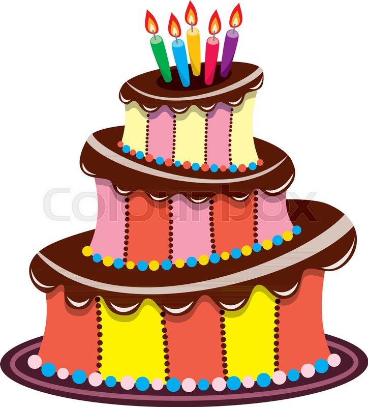 Vector Big Birthday Chocolate Cake