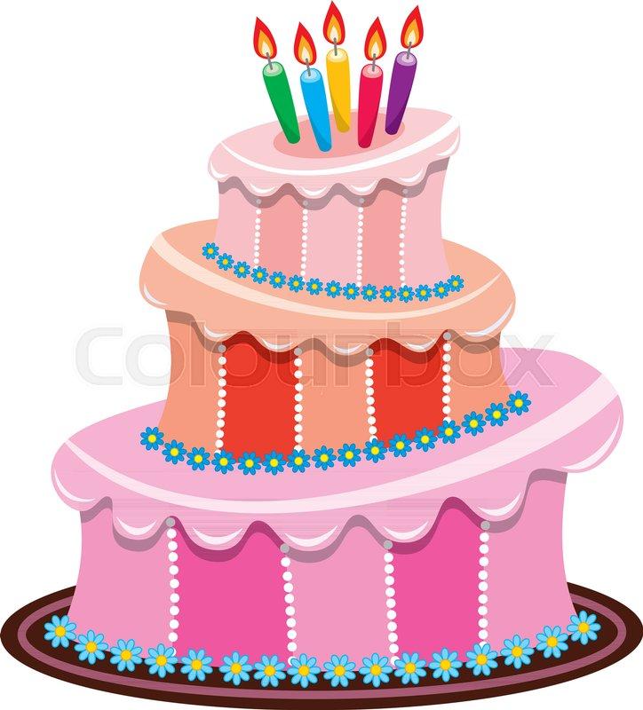 Sensational Vector Big Birthday Cake With Burning Stock Vector Colourbox Funny Birthday Cards Online Alyptdamsfinfo