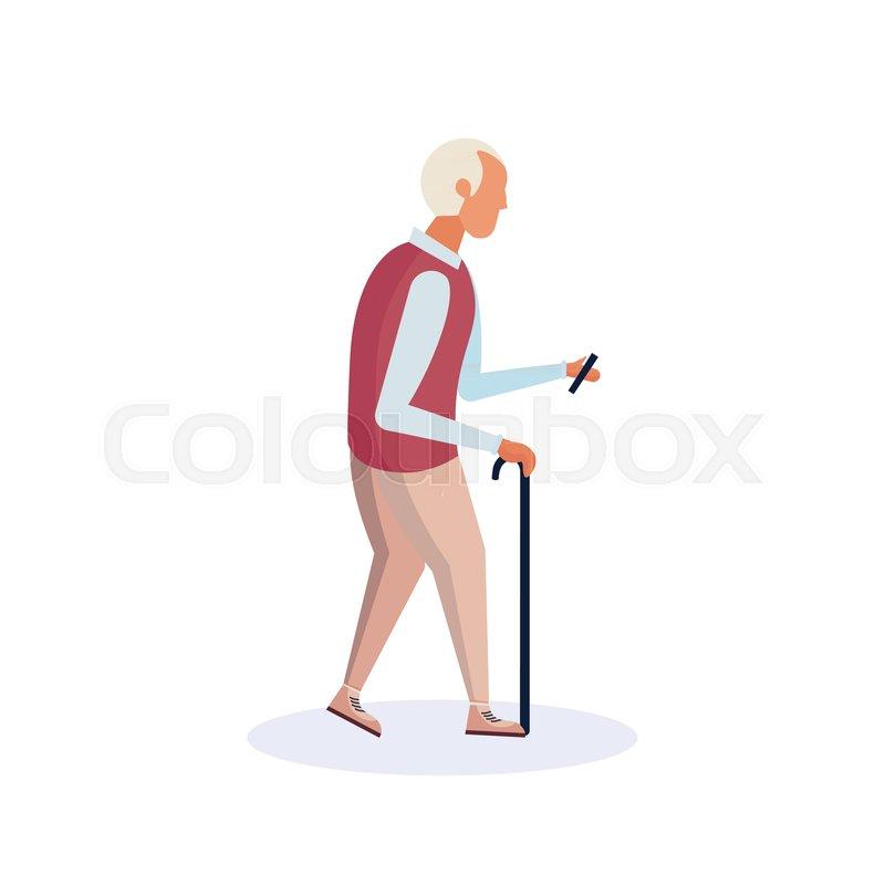 old man walking stick using smartphone stock vector colourbox old man walking stick using smartphone