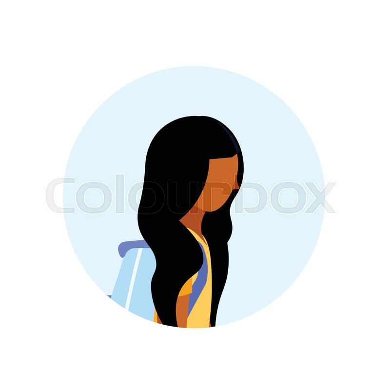 African American School Girl Profile Stock Vector Colourbox