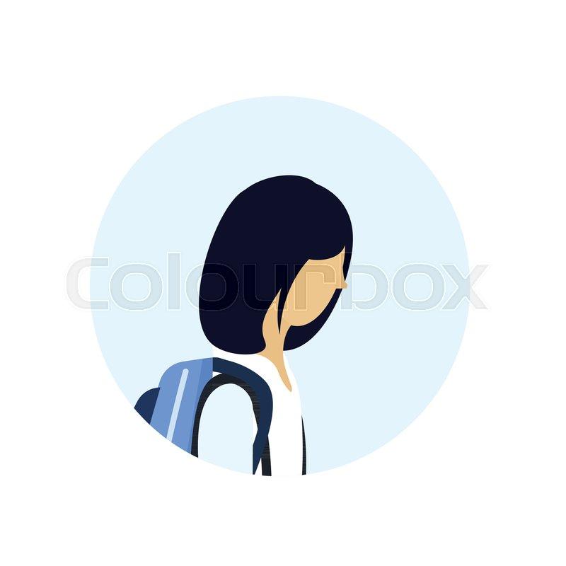 Asian School Girl Profile Avatar Icon Stock Vector Colourbox